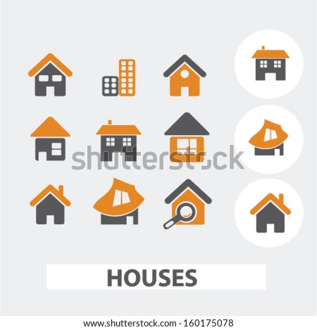 cute houses icons set, vector - stock vector