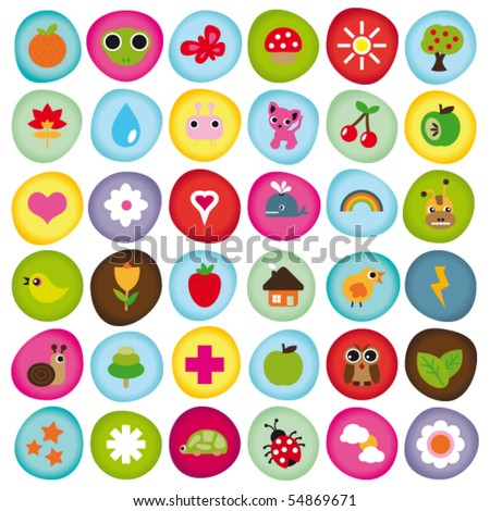 Cute icon set collection buttons in vector - stock vector