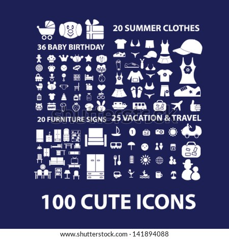cute icons, furniture, vacation, travel, summer clothes, baby birthday icons, signs, symbols set, vector - stock vector