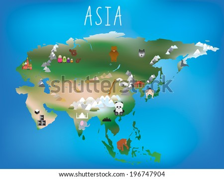 Cute illustrated map of asia with space to add country names in your own language if needed. - stock vector