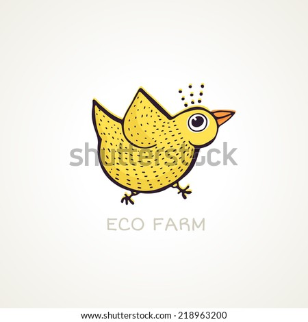 Cute illustration of a chicken made in vetor. Eco farm concept with yellow bird. - stock vector