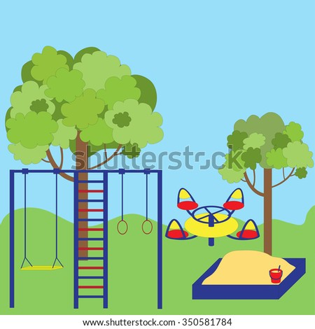 Cute illustration of a children's Playground in the Park