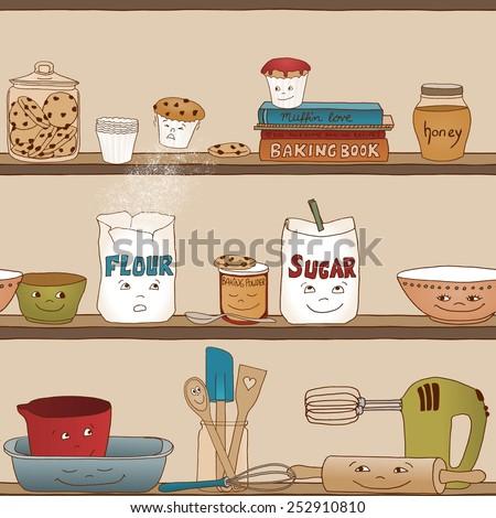 Cute illustration of baking utensils in a kitchen shelf (seamless pattern) - stock vector
