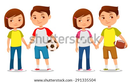 cute illustration of brother and sister holding hands - stock vector