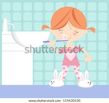 Cute illustration of small girl in her pyjamas brushing her teeth - stock vector