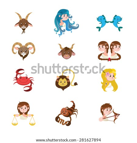 Cute illustration of the twelve signs of the Zodiac - stock vector