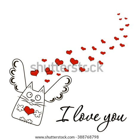 """Cute illustration on the love theme. The cat-angel, hearts and inscription """"I love you"""". Postcard, greeting card, funny print and more - stock vector"""