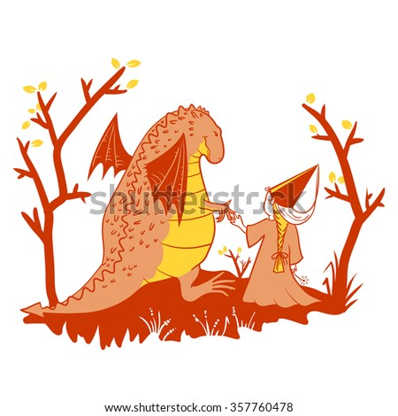 Cute illustration with dragon and princess - stock vector