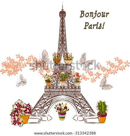 Cute illustration with flower Eiffel tower and potters fully of flowers. Boutique banner or card - stock vector