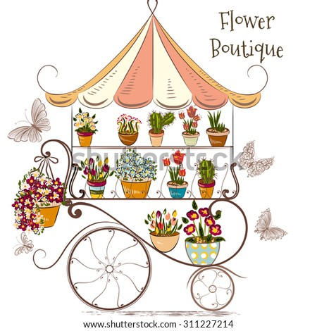 Cute illustration with flower shop or boutique fully of flowers in different potters - stock vector
