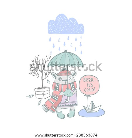 Cute Illustration with freezing animal - stock vector