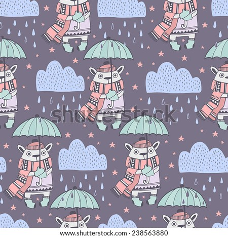 Cute Illustration with freezing animal. Seamless pattern - stock vector