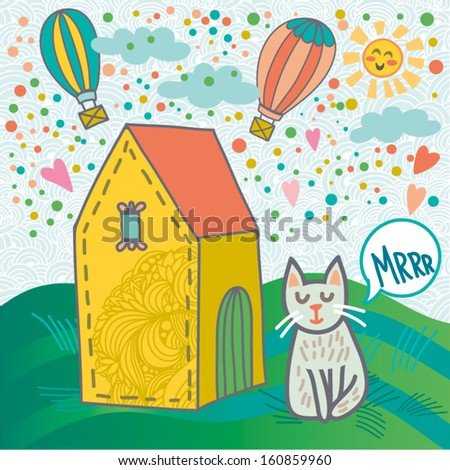 Cute illustration with home, cat, air balloons, clouds and green grass.