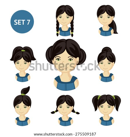 Cute illustrations of little girls with various hair style. Set of children's faces.