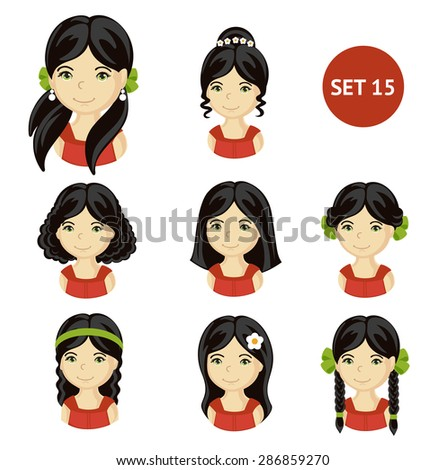 Cute illustrations of little girls with various hair style. Set of children's faces.  - stock vector