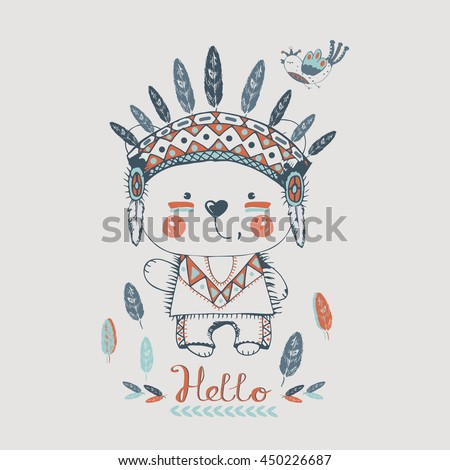 cute indian bear in Indian headband and bird./hand drawn vector illustration/can be used for kid's or baby's shirt design/ fashion print design/ fashion graphic/ t-shirt/ kids wear