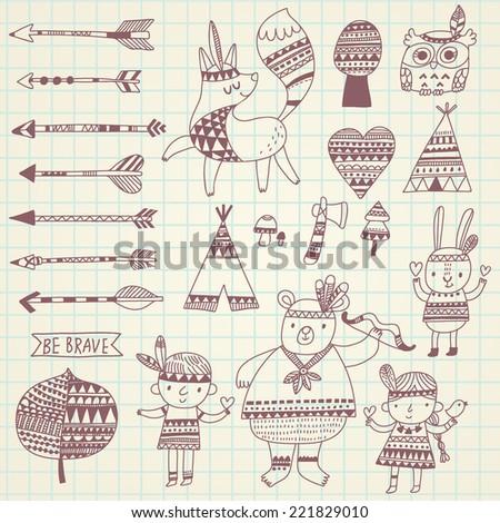 Cute indian doodle set in vector - stock vector
