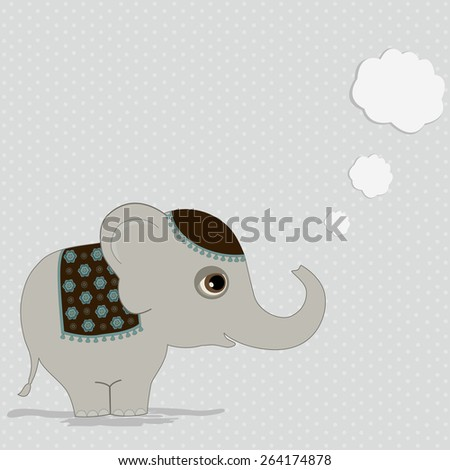 Cute indian elephant with thought bubble