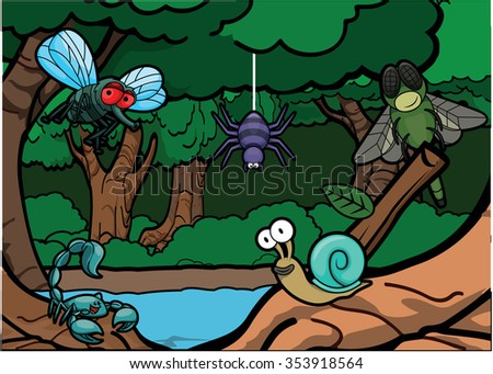 Cute Insect around Exotic Forest Scenery