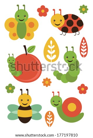 cute insect set. vector illustration - stock vector