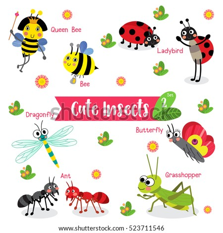 Cute Insects Creature Cartoon On White Stock Vector