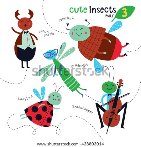 Cute insects on a white background. Childish illustration of dragonfly, grasshopper, may bug, ladybird and pinch beetle. Vector collection. Part 3.  - stock vector