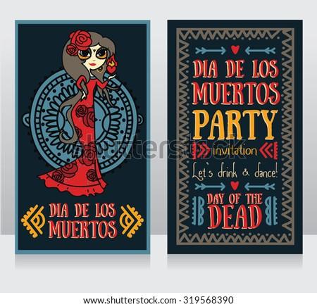 cute invitation cards for dia de los muertos, doodle sugar scull girl, vector illustration - stock vector