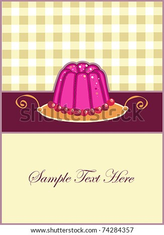 cute invitations for pudding and background - stock vector