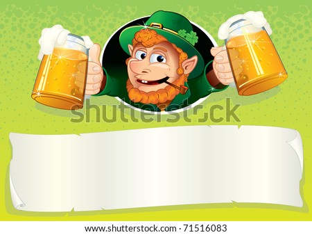 Cute Irish Leprechaun with mugs of green ale, St Patrick's Day festive vector illustrated background or placard with blank banner for your text and greetings - stock vector