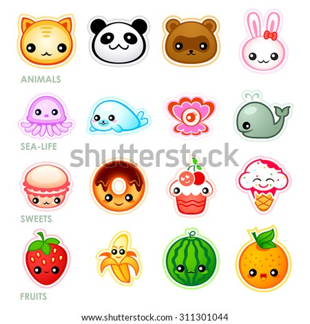 Cute japanese stickers with animals, sea-life, sweets and fruits - stock vector
