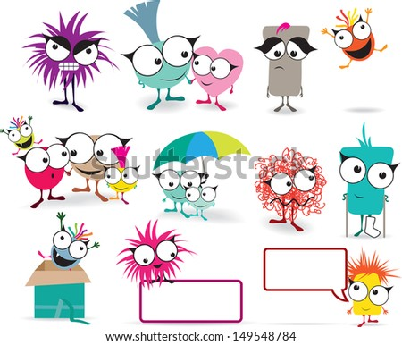 Cute japanese style illstrations of monsters, happy, sad, angry and in love... - stock vector
