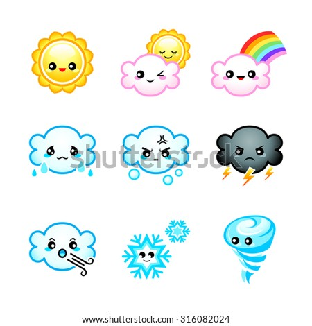Cute Japanese weather icons with emotions isolated - stock vector