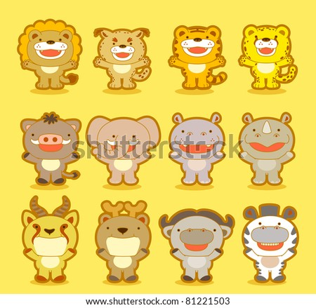 Cute Jungle animals - stock vector