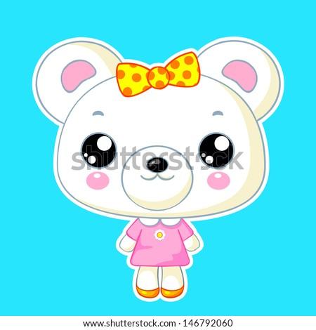 Cute kawaii bear toy: vector character - stock vector