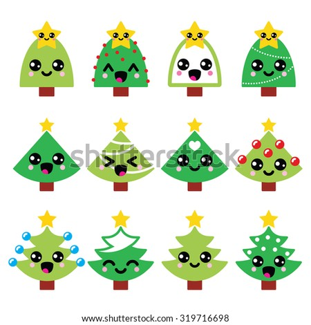 Cute Kawaii Christmas green tree with star vector icons set   - stock vector