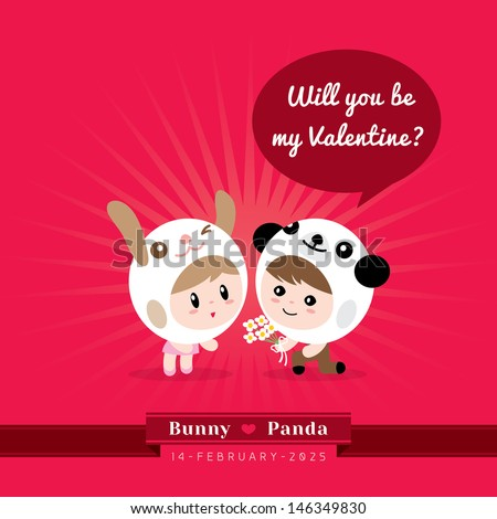 Cute Kawaii Couple Character In Rabbit And Panda Costume With Valentineu0027s  Concept Illustration
