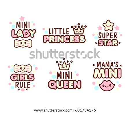 cute kawaii emoticons text mini lady stock vector royalty free