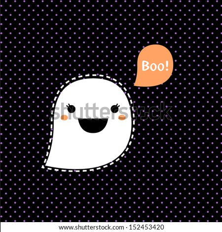 Cute Kawaii Halloween Ghost isolated on black dotted background  - stock vector