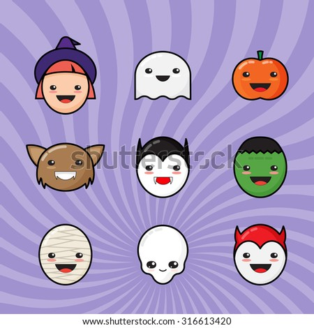 Cute Kawaii Halloween Icons Set. Funny Monster Faces on Colorful Background. - stock vector