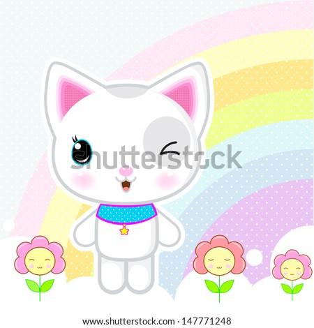Cute kawaii white kitty - stock vector
