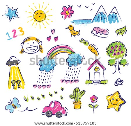 cute kid drawing isolated on white background - Picture Of Drawing For Kid