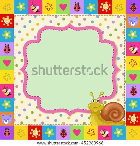 Cute  kid frame with cartoon snail  - stock vector