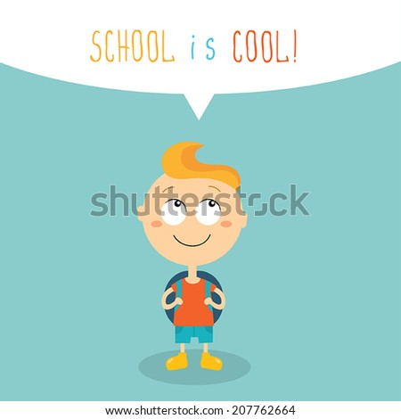 Cute kid ready to go back to school. School is cool concept. Vector illustration - stock vector