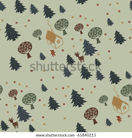 cute kid seamless pattern with little house in forest - stock vector