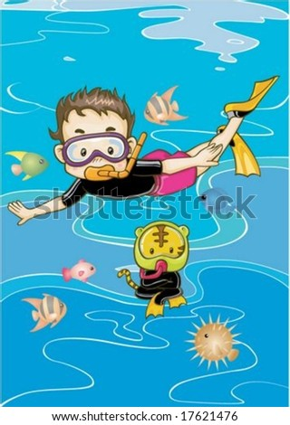 Cute Kids and Happy Life - traveling a cheerful and funny young boy with pretty little cat in undersea adventure on a background of beautiful blue water : vector illustration - stock vector