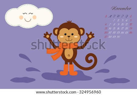Cute kids 2016 calendar pages with adventures of little monkey - symbol of the year. November.