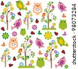 Cute kids cartoon with flowers and birds - stock vector