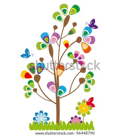 Cute kids cartoon with tree and flowers