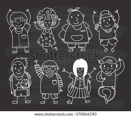 cute kids doodle on chalkboard background - stock vector