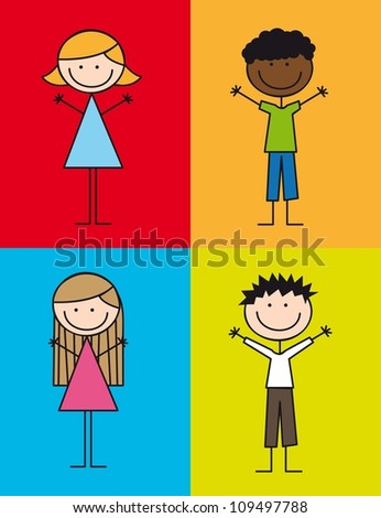 cute kids drawing over colorful squares. vector illustration - stock vector